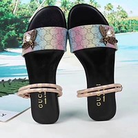 Gucci Women Bee Fashion Slippers Sandals Flat Shoes