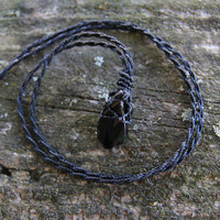 Raw Obsidian Necklace.Macrame necklace,black obsidian stone,soul healing necklace,gift for her,healing crystal,natural jewelry,boho,gypsy