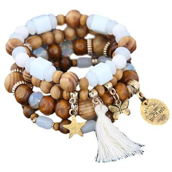 Beautiful White Wood Beaded Set of 4 Stretch Bracelets with Tassel, Star and Butterfly Detail