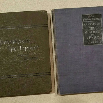Antique Shakespeare books.  The Merchant of Venise 1904.       The Tempest 1902