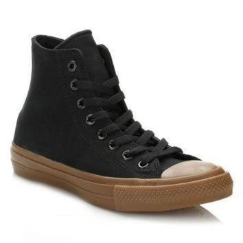 CREYON converse all star chuck taylor ii black gum hi top trainers