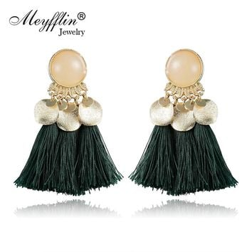Meyfflin Bohemian Boho Tassel Earrings for Women Fashion Fringed Statement Drop Long Earring Jewelry Ethnic brincos New