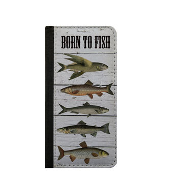 Men phone wallet case Born To Fish Samsung Galaxy Note 5, 3, 4 iPhone 6s wallet case, iPhone 6 case Samsung Galaxy S6 case fishing