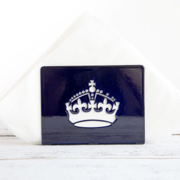 Napkin holder Deep blue glossy UK CROWN laser cut metal napkin dispenser kitchen accessory letter holder