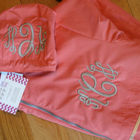 Coral Monogrammed Personalized Rain Jacket - chest and hood monogram included - many colors