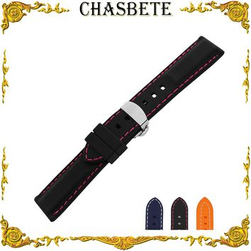Silicone Rubber Watchband for Orient Watch Band 22mm Bracelet Strap Resin Wrist Belt Loop Men Women Black + Tool + Spring Bar