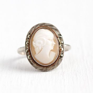 Vintage Cameo Ring - 800 Silver Art Deco Marcasite & Carved Genuine Shell Lady Statement - 1930s Size 7 Oval Bezel Set Classic 30s Jewelry