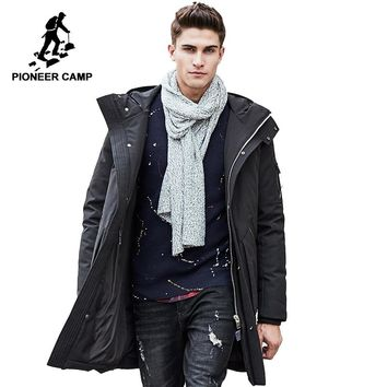 Pioneer Camp Thick winter down jacket men warm waterproof brand clothing Top quality Long Male 90% White duck down coat 611607