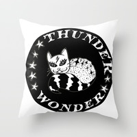 Wonder Thunder Cat Throw Pillow by Shashira Handmaker