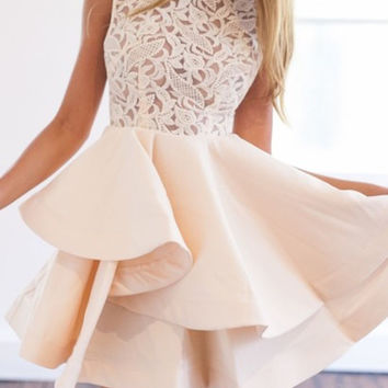 Lace Insert Flare Romantic Dress