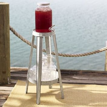 Galvanized Metal Floor-Standing Drink Dispenser Stand