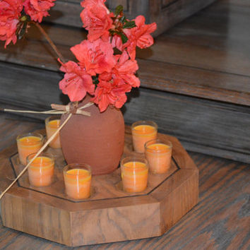 Stunning Octagon Oak 8 Candle & Pottery Vase Centerpiece,  8 Voltive Candles, 1 Clay Pottery Vase,  by Kagumise