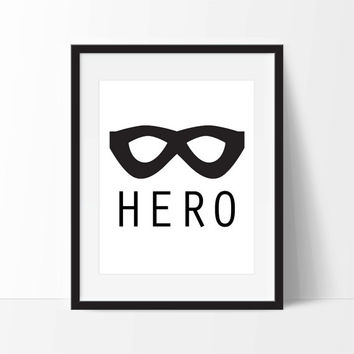 Superhero Mask Art Print Set - Toddler Room Decor - Children's Wall Art - Toddler Art