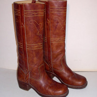 Vintage Womens Western Cowboy Boots Stitched Leather Bull Design7B 7 B