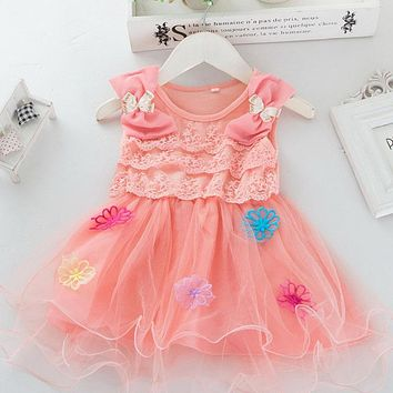 Girls Elegant Lace Layered Tutu Dresses Girls Cotton Lace Flower With Diamond Bow Kids Infant Wedding Gown Clothes