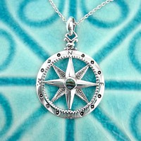 Old Fashioned Compass Necklace with Abalone Shell Center