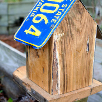 Rustic Birdhouse / Chestnut Birdhouse / Primitive Birdhouse / License Plate Birdhouse / Recycled Birdhouse - Fathers Day