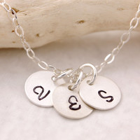 Initial Necklace - 1 2 3 4 5 disks, silver disk necklace, three initials, personalized jewelry, silver disk necklace, sterling silver