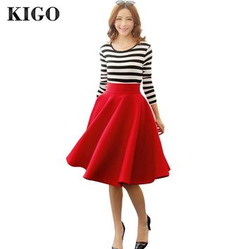 KIGO Women Vintage Big Swing Skirts High Waist Knee Length Midi Skirt Saias Flared Skirt Casual Women Clothing Faldas KZ2365H