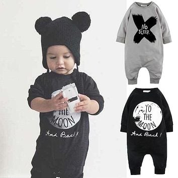 Autumn Winter Children Clothes Fashion Baby Girls Boys Romper Jumpsuit No Sleep to the Moon Romper One-pieces Outfits