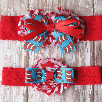 Cat in the Hat Garter Set | Red and Blue Blue Wedding Garters | Bridal Garter and Toss Garter