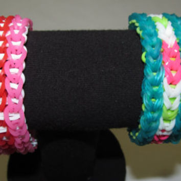 Triple Single Rainbow Loom Bracelets - Jewelry Accessory Irish Pink White Women's Men's Kids