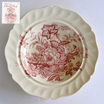 Red Transferware Compote Plate Fruits Flowers & Butterfly Royal Doulton