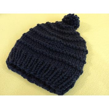 Handcrafted Knitted Hat Beanie Violet Blue Pom Pom Slouchy Wool Acrylic Female -- New No Tags