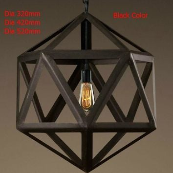 New 2015 Nordico Rustic Pendant Lights American Vintage Loft Cage Edison Hanging Lamp Iron Lampshade Decor Polyhedron Fixtures