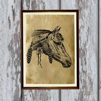 Wild West horse print Tribal animal poster Native American decor  8.3 x 11.7 inches
