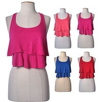 Sexy Round Neck Tier Layered Ruffle Swing Cropped Knit Cami Racerback Tank Top