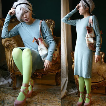 RTBU Punk Long Sleeve Top T Shirt Tunic Casual Pajama Style Dress Fall Warm Wool/Cotton Blend Aqua Soft Pastel Teal Blue