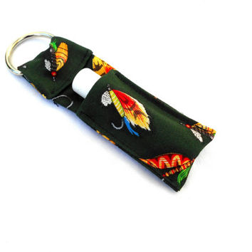 Fly Fishing Chapstick Keychain - Green Lip Balm Holder Cozy