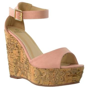 Embroidered Platform Wedge Sandal
