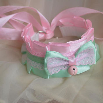 Ddlg collar - Young rose -  kittenplay kitten play pet pastel green and pink lace choker with bell daddy kink collar bdsm proof - nekollars
