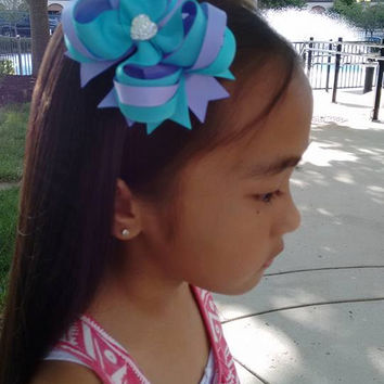 Island Blue & Iris Hair Bow with Sparkly Heart~ Blue Lavender Stacked Boutique Hair Bow~ Gift for Girl~ Gift for Her~ Photo Prop~ Hairbow