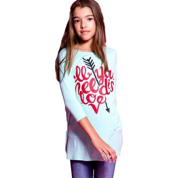 Girls All You Need is Love Print 3/4 Sleeve Piko-Style Tunic, Mint