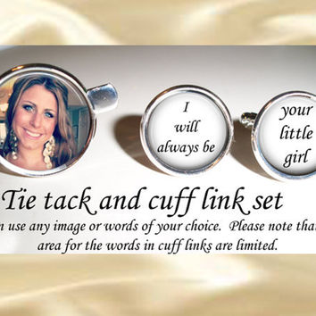 Father of the bride cuff links and tie tac - bridal party - wedding cufflinks - keepsake - gift