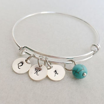 Initials charm bracelet, Mother's day bracelet with kids names, Grandmother's mother's day Bracelet,  Grandma jewelry Gift, initial bangle