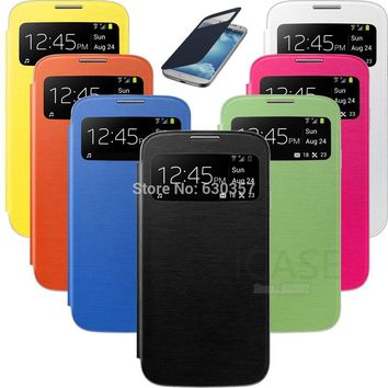 Smart Sleep View Window Function Flip Leather case For Samsung Galaxy S4 Mini S4mini I9190 Battery housing Back Cover Case