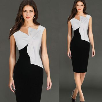 Elegant Wear To Work  Black White Splice Pencil Dress