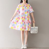 WAVE POINT FRUIT PRINTING COLLEGE WIND DOLL COLLAR DRESS