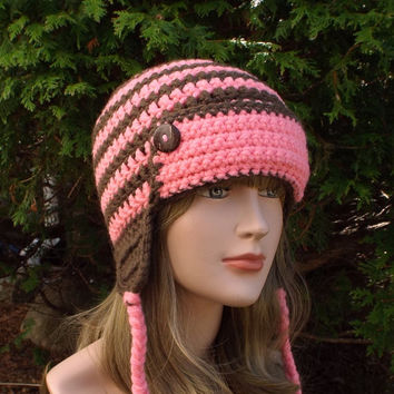 Pink and Brown Earflap Hat, Womens Aviator Hat, Crochet Beanie, Helmet Hat, Bomber Hat with Buttons