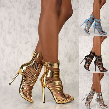 Open Toe Strappy booties Stiletto High Heels Gladiator Women Sandals US 7-10