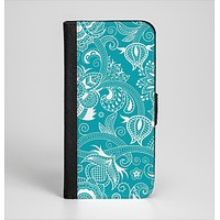 The Turquoise Fancy White Floral Design Ink-Fuzed Leather Folding Wallet Case for the iPhone 6/6s, 6/6s Plus, 5/5s and 5c