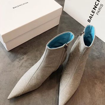 Balenciaga Pointed Toe Glitter Ankle Boot