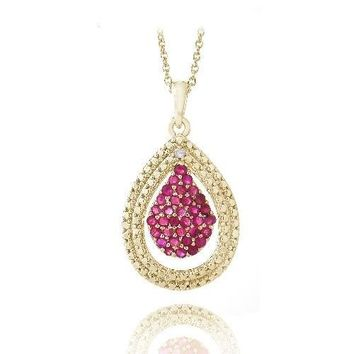 Gold Plated Two-Tone Created Ruby & Diamond Accent Teardrop Pendant Necklace