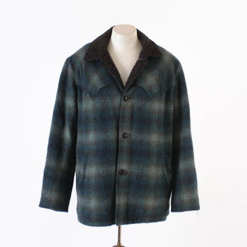 Vintage 60s Men's COAT / 1960s Blue Shadow Plaid Wool Western Style Winter Jacket L