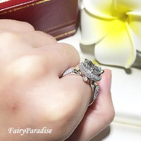 2 Ct Edwardian Engagement Ring, Art Deco Halo Promise Rings, Vintage Inspired Ring, Antique Style Round Ring, Victorian ring, Fairy Paradise
