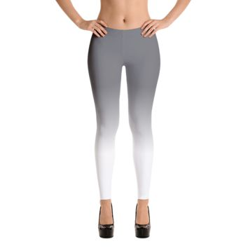 Grey and White Ombre Leggings, Polyester and Spandex, Printed Leggings for Women